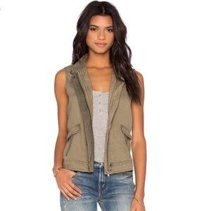 Michael Stars Beige Linen Zip Up Vest Size Medium